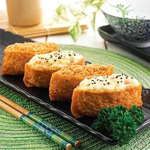Egg, Potato & Soy Floss Inari / 鸡蛋,马铃薯,豆酥豆腐皮