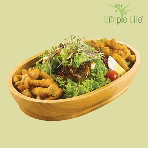 Green Salad with Fried Shimeji Mushroom / 绿叶蔬菜沙拉 + 酥炸鸿喜香菇