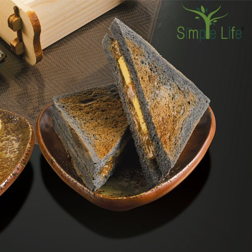 Toasted Homemade Charcoal Bread with Kaya and Butter / 香烤竹炭面包