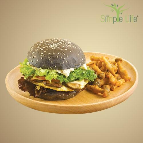Charcoal Burger with Deep Fried Shimeji Mushroom / 竹炭汉堡 + 酥炸鸿喜香菇