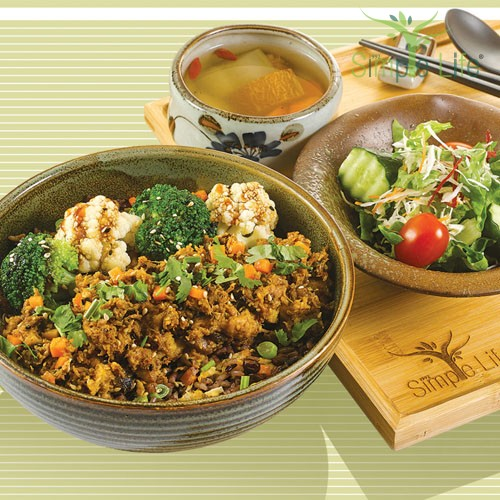 Mixed Mushroom Paste with Fried 10 Grains Rice / 香菇杂酱盖饭