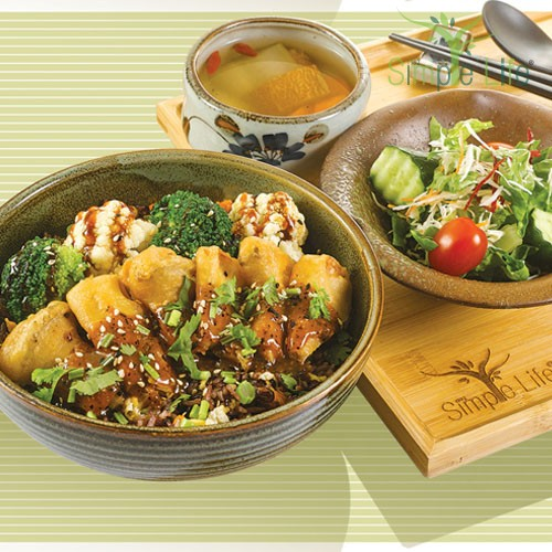 Black Pepper Oyster Mushroom with Fried 10 Grains Rice / 黑胡椒酱杏鲍菇盖饭